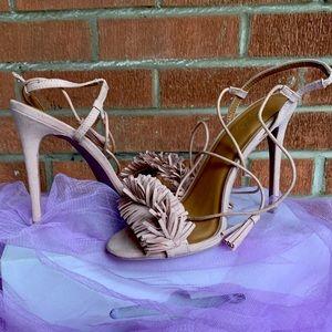 Beige Fringe Lace Up High Heel Sandals